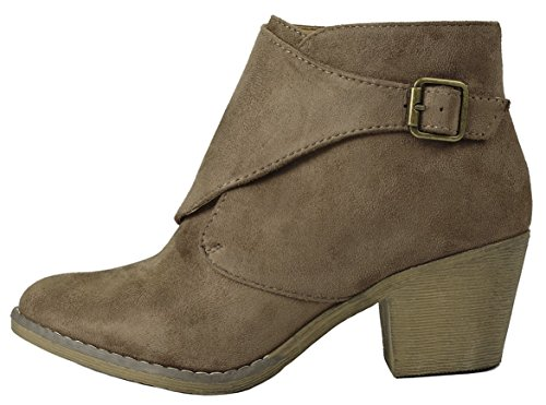 Metallic Faux Wedge Stacked S5 Women Zipper Suede linda Heel Toe Ankle Almond Chunky Taupe Mid Booties faXagAxW