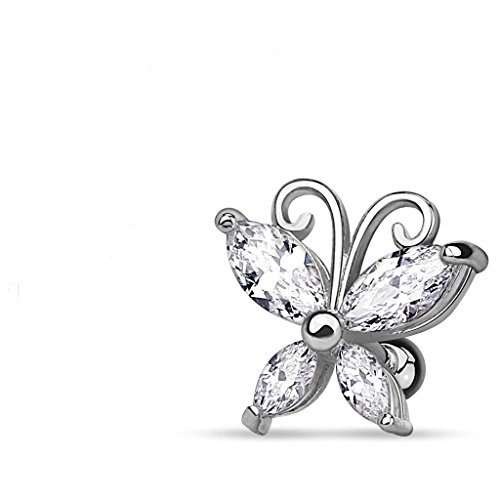 Sold by Piece Marquise Cut CZ Butterfly Gold Plated Over 316L Surgical Steel Cartilage//Tragus WildKlass Bar