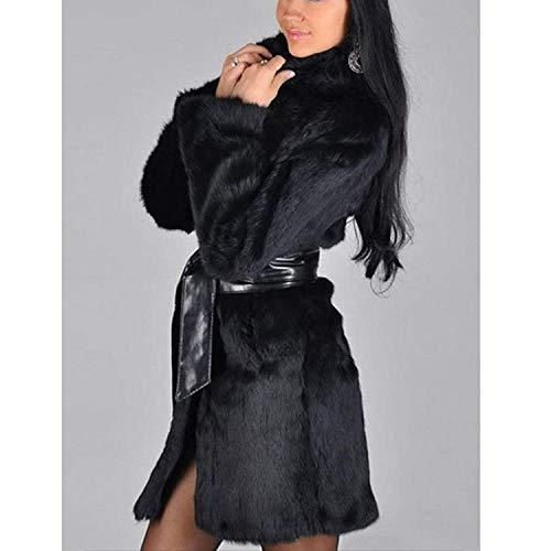 Con Caliente Fashion Exquisito Falsa De Chaqueta Mujer Otoño Parka Manga Abrigo Abrigos Largo Negro Polares Cómodo Elegante Largas Modernas Piel Invierno Cinturón FxZPwCq