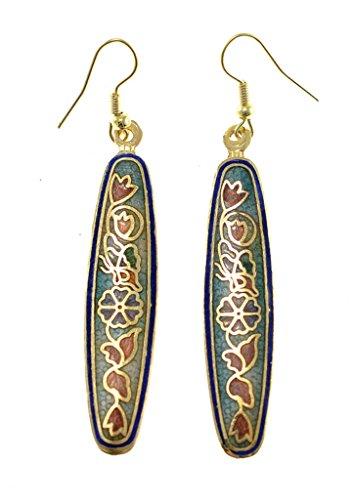 Shagwear Women's Vintage Art Deco Nature Inspired Cloisonne Earrings Blue Tulip