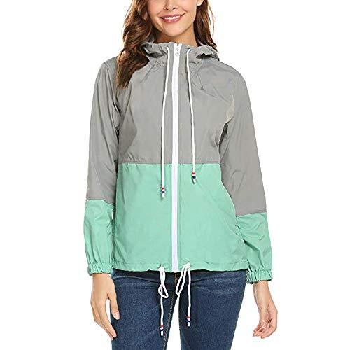 Sleeve Hooded Green Pockets Coats Sport Luoluoluo Down Womens Thin Long Patchwork Zipper Jacket St6wFxqFg