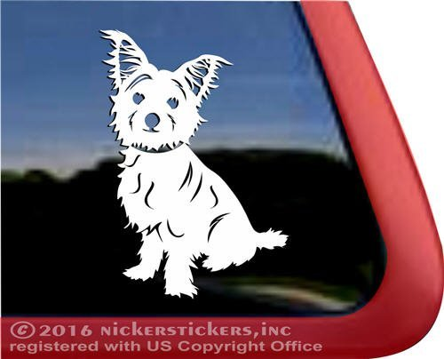 NickerStickers Morkie | Maltese Yorkie Mixed Breed Vinyl Dog Window Decal - Erect Ears