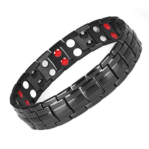 - Summan Mens Titanium Magnetic Therapy Health Bracelet for Pain Relief Arthritis and Carpal TunnelAdjustable 4Element (Black, Titanium)
