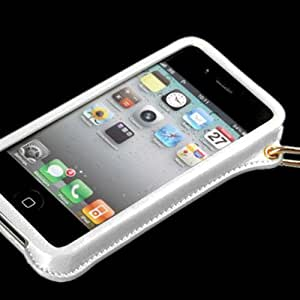 White KASHIDUN Ultra Thin Leather Pouch Case Neck Strap for Apple Candy Case - iPhone 4 4G 4S