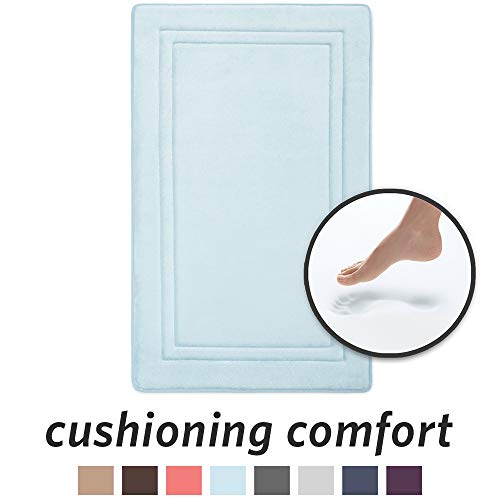 MICRODRY 10886 Quick Drying Memory Foam Bath mat with GripTex skid-resistant base, 21 x 34, Seaglass (Seafoam Green Bath Rug)