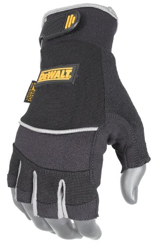 DeWalt DPG230M Technicians Fingerless Synthetic Leather Glove, Medium Dewalt Leather