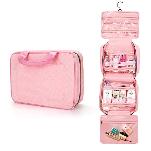 Large Travel Toiletry Bag with Hanging Hook, Jelly Comb Waterproof Cosmetic Travel Bag for Women, Makeup Travel Organizer for Jewellery, Shampoo, Toiletries, Bottles, Accessories.