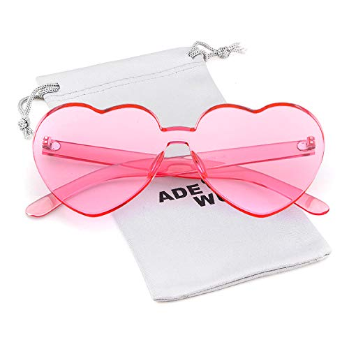 Love Heart Shape Sunglasses Women Rimless Frame Colorful ()