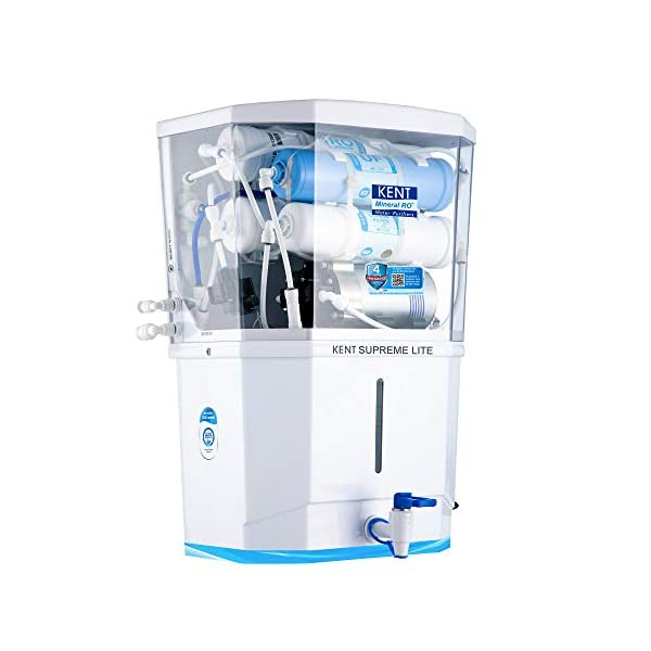 KENT Supreme Lite 2020 (11110), Wall Mountable, RO + UF + TDS Control, 8 L Tank, White, 20 LPH Water Purifier 2021 August Multiple purification by RO+UF process which removes even dissolved impurities such as chemicals, bacteria, viruses, and salts making water 100% pure and suitable for drinking. TDS control system allows adjustment of TDS level of purified water which retains essential natural minerals in drinking water. Suitable for purification of brackish/tap water/ municipal water supply. Capacity: 8 liters, high purification capacity of 20 liters per hour.