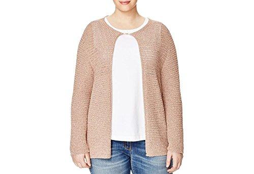 - Marina Rinaldi Women's Marilu Holey Cardigan, Metallic Pink, Large