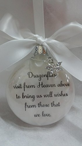 - April Birthstone Dragonfly Memorial Christmas Ornament w/ Clear Crystal - Dragonflies visit from Heaven
