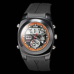 ZA Men's Multi-Functional Dual Time Zones Black Rubber Band Sporty Wrist Watch(Delivery color random)