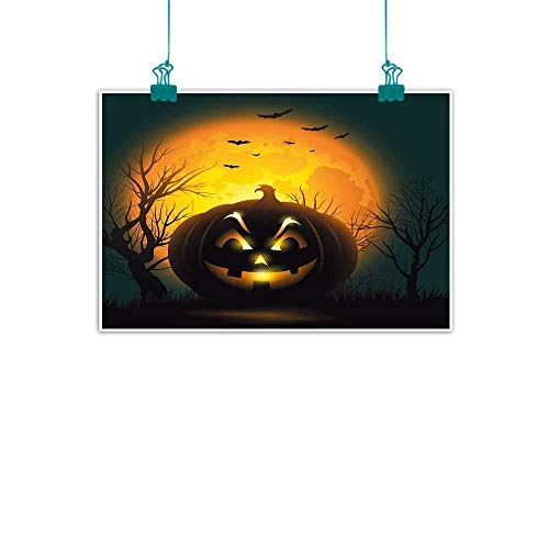 Warm Family Halloween Light Luxury American Oil Painting Fierce Character Evil Face Ominous Aggressive Pumpkin Full Moon Bats Home and Everything 32