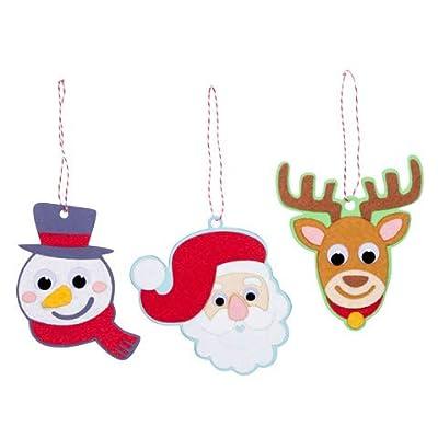 PWS Sales Christmas Ornament Craft Kit-Foam and Felt Wiggle Eye -Makes 18-Christmas Character Santa, Snowman, Reindeer: Toys & Games