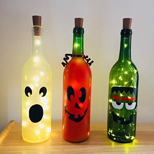 halloween wine bottle with lights