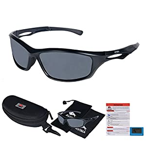 AVIMA BEST Unisex Polarized Tr90 Unbreakable Frame Sports Sunglasses for Running Baseball Cycling Fishing Volleyball Driving Skiing Golf Traveling (Black Matte Frame With Polarized Gray Lens)