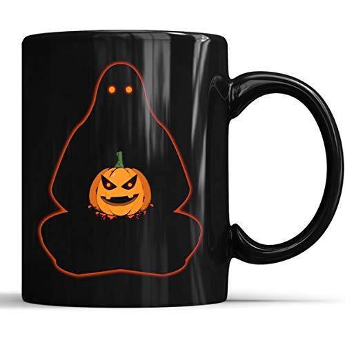 Funny Halloween Ghost and Pumpkin Meditation Mug - Funny Halloween Costumes Coffee Mug 11oz Gift Black Tea Cups ()