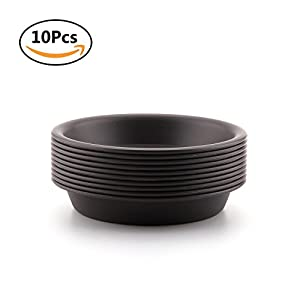 T4U 4 inch Plastic Round Succulent Plants Pot Saucer Trays for holding Water Drips and Soil (Dark Grey, Set of 10)