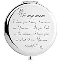 DIDADIC Mom Gifts from Daughter Son for Birthday Christmas, for Mom, Engraved Makeup Mirror (You are Beautiful Mom)