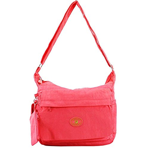 LIGHTWEIGHT FUNCTION Coral WATERPROOF WOMENS POCKETS NEW MESSENGER BAG MULTI E7zfwv4q