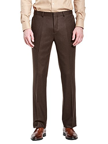 HBDesign Mens Outdoor Ball Slim Fit Flat Straight Brown Iron Free Pants ()
