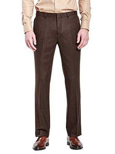 HBDesign Mens Formal Dress Slim Fit Flat Straight Iron Free Pants Black