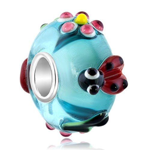 Sterling Silver Ladybug (LovelyCharms Ladybug Flower 925 Sterling Silver Blue Murano Glass Bead Fits Pandora Charm)