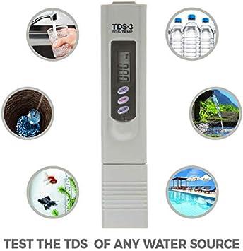 Medidor de calidad del agua, SENRISE Digital Electric TDS-3 Hydroponics Water Purity Test Pen Medidor de temperatura, control de calidad para piscina, hidropónicos ...
