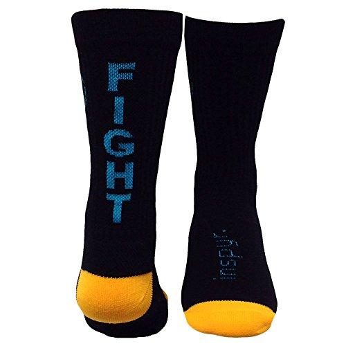 Inspyr Socks Fight Hard Athletic Lifestyle Crew Socks, Black/Aqua/Yellow, Small