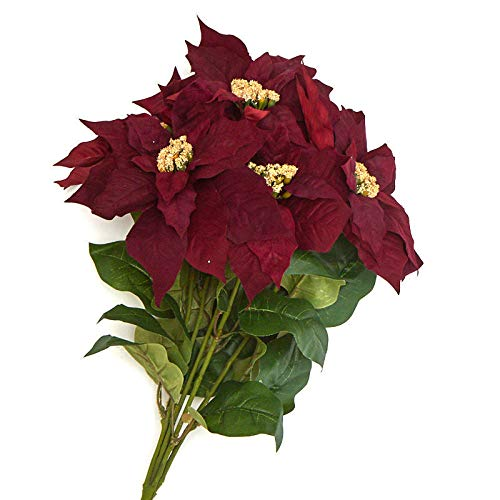 Factory Direct Craft Burgundy Artificial Poinsettia Bush