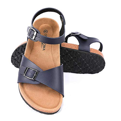 Seranoma Women's Comfort Cork Double Strap Sandal | Secure Adjustable Ankle Strap | Flat Footbed | Ladies Classic Indoor/Outdoor Summer Sandal Navy