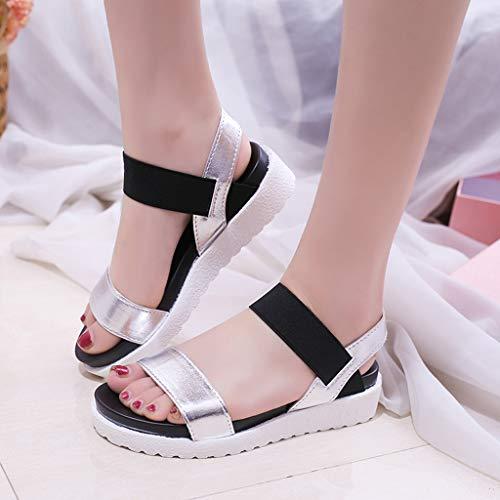Con Abiertas Romano Gladiador Logobeing Negro De Plataformas Mujer Zapatos Novedad Sandalias Pisos Hebilla Roun Cuña Toe ngB4wqzB6