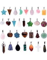 Mix Random 30pcs Natural Stone Pendants Charms Jade Turquoise Stone Beads Bracelet Necklace Jewelry Findings Gemstone (Mix Styles)