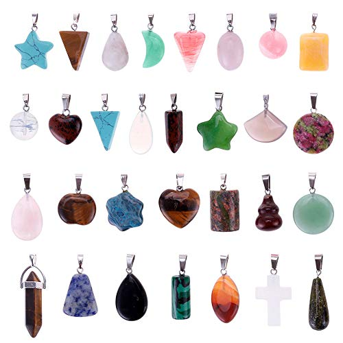 Mix Random 30pcs Natural Stone Like Pendants Charms Jade Turquoise Stone Beads Bracelet Necklace Jewelry Findings Gemstone (Mix Styles)