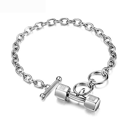 Price comparison product image Barbell Bracelet Stainless Steel 18K Gold Plated Dumbbell Jewelry Charm Box Accessories,  Adjustable, Silver