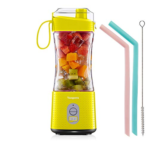 Portable Blender Personal USB Rechargeable Juice Cup for Smoothie and Protein Shakes Mini Handheld Fruit Mixer 13Oz Bottle for Travel Gym Home Office Sports Outdoors Yellow