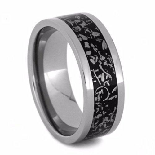 Black Stardust 8mm Comfort-Fit Titanium Wedding Band, Size 4 by The Men's Jewelry Store (Unisex Jewelry)