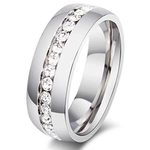Zealmer Crystal Eternity Ring Band Channel Setting CZ Cubic Zirconia Wedding Engagement Band Silver 6.5 Diamond Created Eternity Band Ring