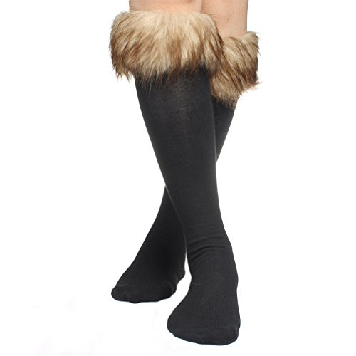 ECOSCO Women SOFT COZY FUZZY Faux Fur Leg Warmers Sock Boots Cuffs Cover Brown ()
