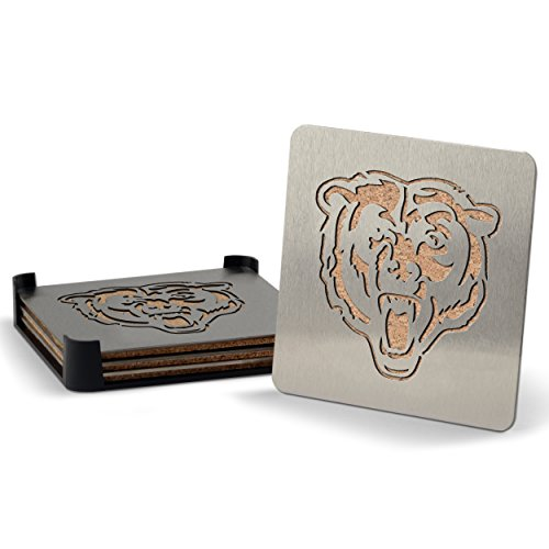 NFL Chicago Bears Boasters, Heavy Duty Stainless Steel Coasters, Set of 4