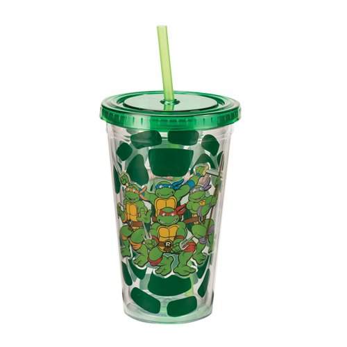 Vandor 38114 Teenage Mutant Ninja Turtles 18 oz Acrylic Travel Mug with Lid and Straw, Multicolor