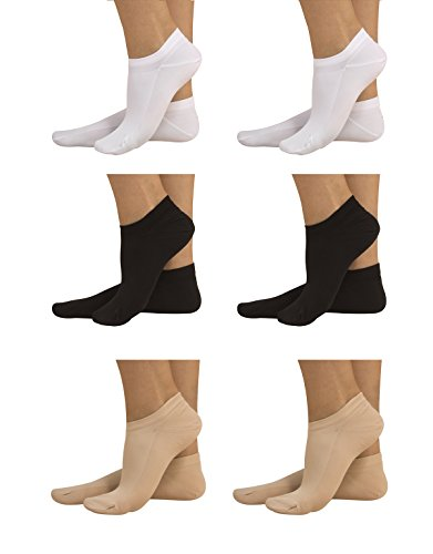 6 PAIRS - ANKLE LINER SOCKS | OPAQUE TRAINER SOCKS IN MICROFIBER | MULTICOLOURED | 50 DEN | UNISEX | MADE IN ITALY (USA: 5.5/9 = EU: 35/40, 2 White, 2 Black, 2 Skin) from CALZITALY