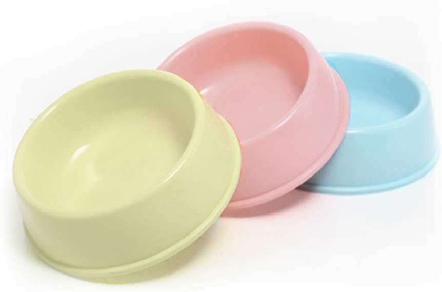 BOCHO Plastic Dog Bowls?Food Dishes & Water Bowl for Dogs, Cats or Other Small Animals - 3 Color Set (Candy Colors, 中号)