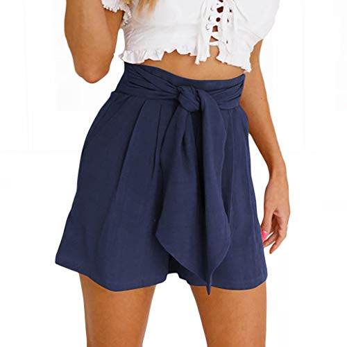 Hivot Woman Lounge Shorts Summer Drawstring Solid Color Straight Wide Leg Leisure Strappy Hot Pants Beach Shorts Navy (Beds Southampton)