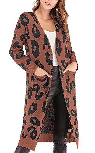 BTFBM Women Long Sleeve Open Front Leopard Knit Long Cardigan Casual Print Knitted Maxi Sweater Coat Outwear with Pockets (Coffee, X-Large)