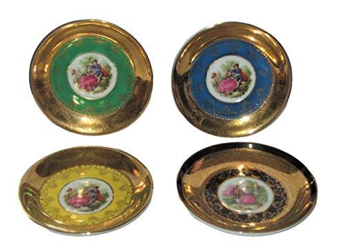 Vintage Royal Vienna Gold Encrusted Gilding Green, Blue, Yellow & Black Porcelain Demitasse 4 1/8 Inch Saucers, Set of 4, 11/620 Beehive