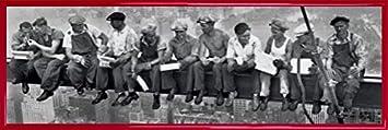 1932 91 x 30cm 1art1 New York Midi Poster et Cadre - LHeure du D/éjeuner Au Sommet dun Gratte-Ciel Plastique