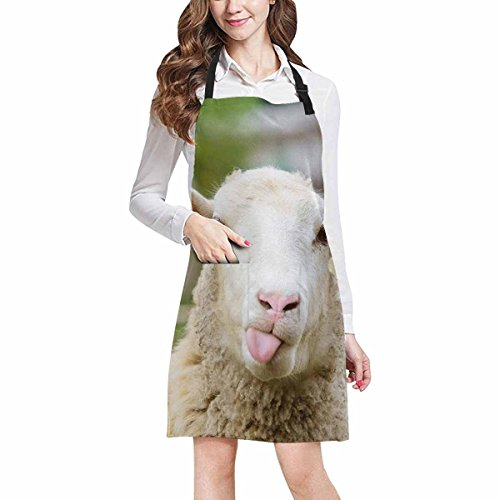 InterestPrint Funny Naughty Sheep Showing Tongue Cute Animal Chef Aprons Professional Kitchen Chef Bib Apron with Pockets Adjustable Neck Strap, Plus Size by InterestPrint
