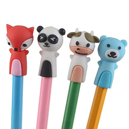 Echaprey 4Pcs Soft Silicone Pencil Toppers Cartoon Animal Pen Caps Pencil Grip Writing Aid Tools