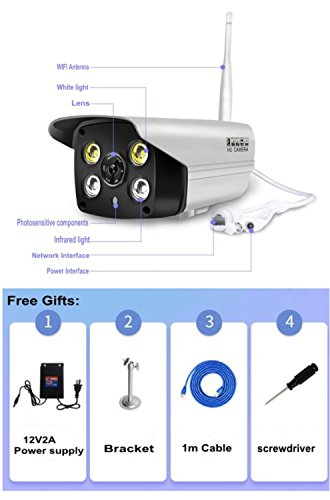 Amazon.com : Pomiacam LS-C6 Weatherproof Outdoor WiFi IP Camera, 1080P HD Full-Color Night Vision IP Security Bullet Camera, Wireless Security Camera, ...
